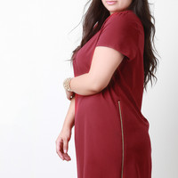 Side Zipper Shift Dress