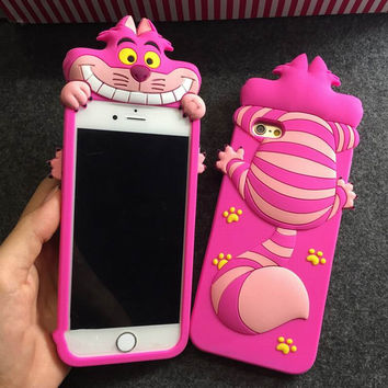 New Soft Silicon Phone Back Cover Cartoon Alice Cat Cute Phone Case For Iphone 5S 6 6Plus YC1185