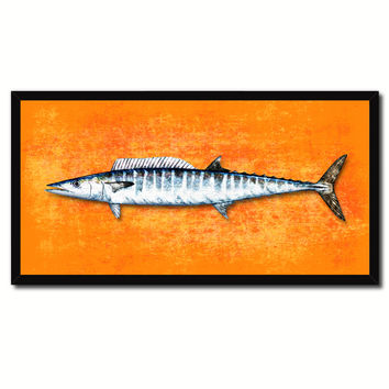 Wahoo Fish Orange Canvas Print Picture Frame Gifts Home Decor Nautical Wall Art