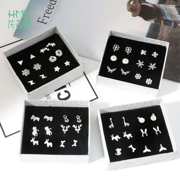 6 Pairs/lot Punk Fashion Stud Earrings Set For Women Elegant Mixed Style Cute Flower Animal 925 Sterling Silver Earings Jewelry