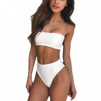 Strapless High Waist Bathing Suit for women Pad support, Wire Free