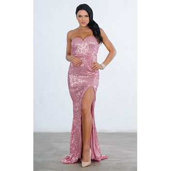 4732516f7343 Indie XO Ambitious Dream Pink Sequin Strapless Sweetheart Neck H