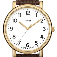 Timex® 'Easy Reader' Leather Strap Watch, 42mm | Nordstrom