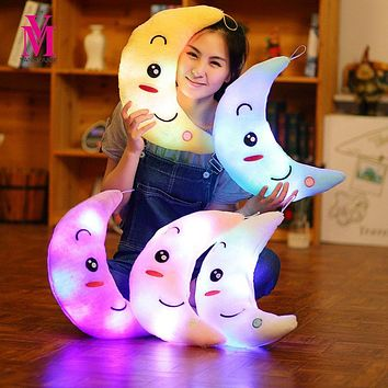 Vanmajor New 35cm Colorful Moon Shape Plush Toys Luminous Glowing LED Light Pillow Soft Stuffed Lovely Kids Toy Birthday Gift