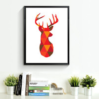 Deer Head Print Art, red orange Wall Prints, Geometric Deer, Wall Prints, Printable Art, Print Deer Art, red orange Wall Art *169*