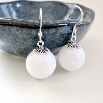 White earrings, Bridal earrings, Wedding jewelry, Bridesmaid earrings, Simple everyday earrings