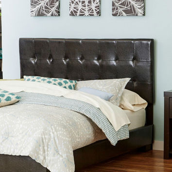 Full size Tufted Brown Faux Leather Upholstered Headboard