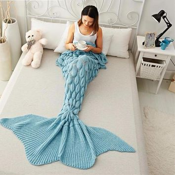 Mermaid Tail Blanket Yarn Knitted Handmade Crochet Mermaid Blanket Kids Throw Bed Wrap Super Soft Sleeping Bed