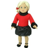 Black & Red Doll Clothes Fits 18 Inch American Girl Dolls 2 pc. Set of Fur Trimmed Satin/Tulle Doll Skirt - Dressy Doll Sweater & Skirt Set