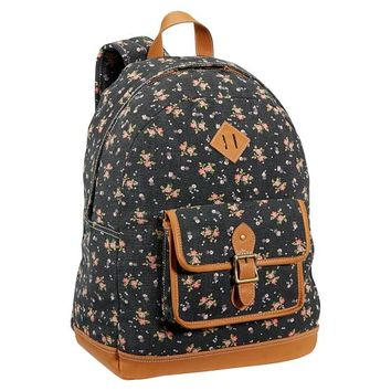 Northfield Black Ditsy Floral Canvas Backpack