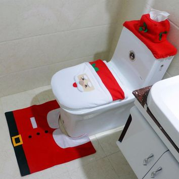 3Pcs/set Christmas Happy Santa Toilet Seat Cover with Rug Bathroom Set