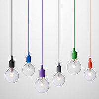 Colorful Pendant Lights E27 Silicone Lamp Holder Pendant Lamps 11 Colors DIY Home Decoration Lighting 100cm Cord+Ceiling Rose
