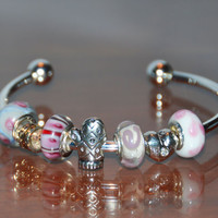 Cuff Style Charm Bracelet Murano & Silver Charms