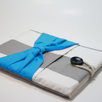 Mac Book Air 13 inch Sleeve Retina Mac book Pro Case Mac book Foam Padded Handmade Mac Book Cover- Grey Stripes with Aqua Blue Bow