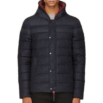Duvetica Navy Twill And Nylon Quilted Branco Jacket