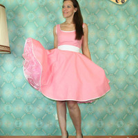 50's vintage dress full skirt baby pink by Lolablossomclothing