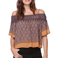 LA Hearts Crochet Trim Cold Shoulder Top - Womens Shirts