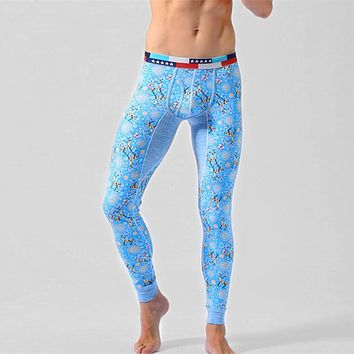 Winter Men Long Johns Thicken Sexy Mens Long Pants Bottoms Pajama Low Waist Tight Legging Pouch Warm Long Johns Size M L XL XXL