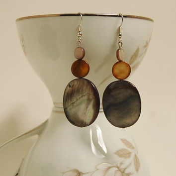 Polished Shell and Stone Earrings Drop Dangle Dangly Sexy Natural
