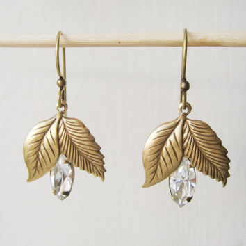 Vintage Rhinestone Bridal Earrings // Sparkly, Leaf Charm, Estate Style, Drop Earrings, Wedding Accessories, Bridal Jewelry, Jewellery