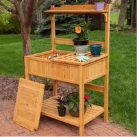 Natural Wood Potting Bench Garden Table with Bottom Shelf