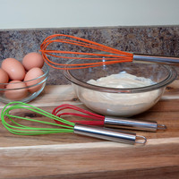 Evelots Silicone Balloon Whisk Set, Kitchen Utensils, Assorted Colors - Set Of 3