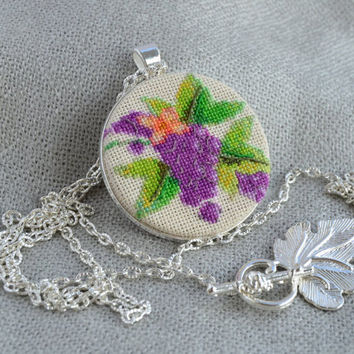 Pendant grapes Violet neclace Embroidered necklace Violet pendant Grapes jewelry Violet jewelry Women gift Fruit necklace Cross stitch