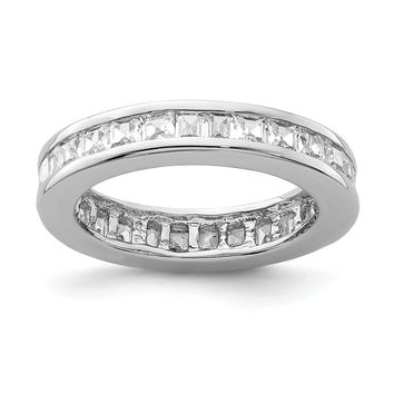 925 Sterling Silver Rhodium-plated Cubic Zirconia Eternity Band Ring