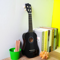 "2016 Hot Sale Mini Professional Vintage 21"" Acoustic Soprano Guitar Ukulele Instrument School Music learner Black Bass Guitar"