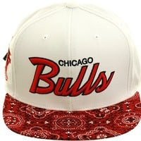 Mitchell and Ness BCS NZH91 Chicago Bulls Paisley Strapback Hat - White, Red
