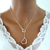 Double Heart Lariat Necklace Sterling Silver Valentine Day Birth - Wedding Jewelry | Handmade