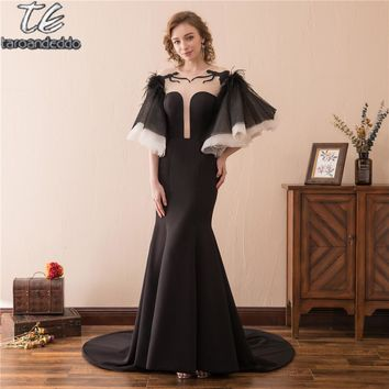 Famous Design Deep Sexy Neck Black Mermaid Prom Dress Half Sleeves Illusion Back Feather Evening Gowns