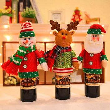 Christmas Home Supplies Cartoon Doll Cute Wine Bottle Cover Decorations