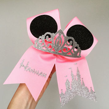 Princess minnie personalized cheer bow glitter tiara mickey ears pink