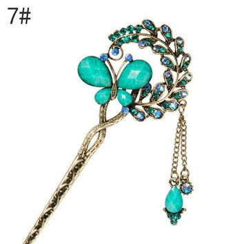 Elegant Women Retro Vintage Bridal Wedding Party Gifts Hairpins Colorful hair clip Rhinestone Butterfly Hair Sticks