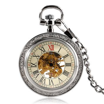 Hot Sale Vintage Watch Silver Transparent Roman Numbers Skeleton Gear Pocket Watch Mechanical Hand Wind Clock Xmas Gift