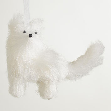 White Fabric  Fox Ornament - World Market