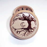 Hand made Wood burned herb grinder / Tree of by DarstarCreations