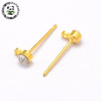 Brass Ear Studs with Rhinestone, Golden, about 3mm wide, 14.5mm long, hole: 1mm; Pin: 0.8mm