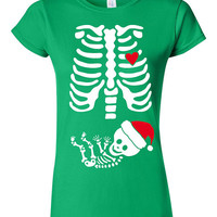 Skeleton Baby Christmas T-shirt Tshirt Tee Shirt Gift Mother Pregnant Pregnancy Mom Infant Shower Funny Cute Creepy Santa Hat Xmas Xray Baby