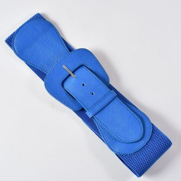 Retro Style Blue Leatherette Wide Elastic Cinch Belt