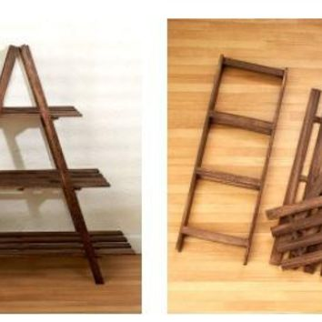 3 Tier A Frame Wood Shelf Graduated Widths Hinged Folds for Storage Home Decor