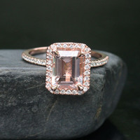 14k Rose Gold 9x7mm Morganite Emerald Cut and Diamonds Wedding or Engagement Ring (Choose color and size options at checkout)