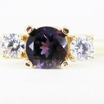 Amethyst and CZ 14k Yellow Gold Three Stone Ring