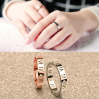 2015 Fashion/Hollow out Roman numerals/Titanium steel zircon rings/Rose White gold/couples tail ring/Stainless steel