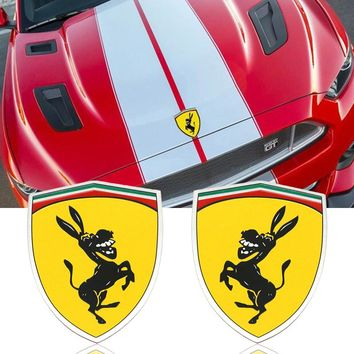 3D Aluminum Donkey Logo Car Window Body Sticker Emblem Decal Steering wheel sticker Accessories Fit For Ferrari Ford Mustang