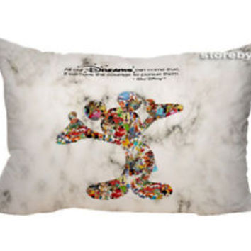 "Walt Disney Dreams Quote Zippered Pillow Case 16""x 24"" - 2 sides Cushion Cover"