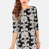 Refined By Me Cream and Black Damask Print Dress