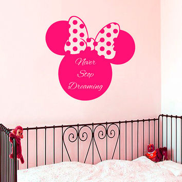 Wall Decal Quote Minnie Mouse Vinyl Stickers Never Stop Dreaming Art Mural Home Bedroom Decor Interior Design Girl Nursery Wall Decor KI19