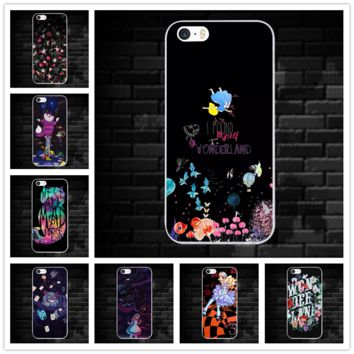 For iPhone X 10 7 6 6s 8 Plus 4 4S 5 5S SE 5C Phone Cases Cover Capa Alice in Wonderland Bonkers Adorable Colored Drawing
